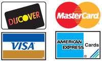 We Accept Discover, Visa, MasterCard & American Express